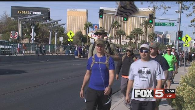 Marching 58 miles to honor the 58 victims killed on 1October, valleymilitary members said they areusing each mile as a chance to raise money for the Las Vegas Victims Fund.(FOX5)