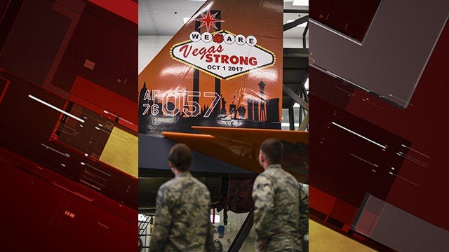 A new paint job on an F-15C Eagle airplane sends a message: Vegas Strong. (U.S. Air Force photo by Airman 1st Class Andrew D. Sarver/Released)