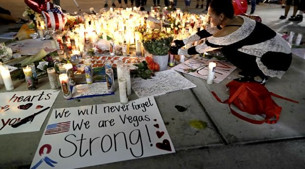 The memorial for victims of the mass shooting on Las Vegas Boulevard shown here on Oct. 3, 2017. (Marcio Jose Sanchez/AP)