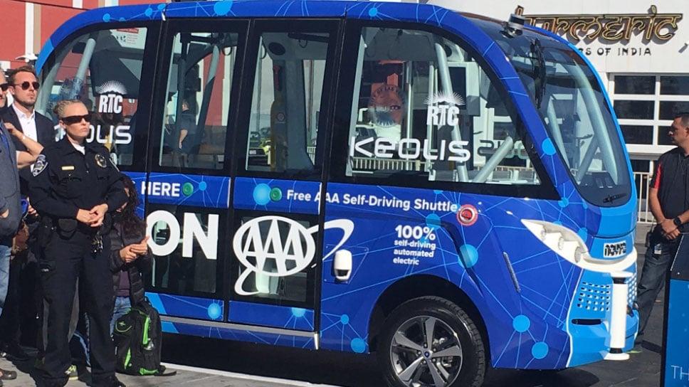A self-driving bus debuted in downtown Las Vegas on Nov. 8, 2017. (Kathleen Jacob/FOX5)