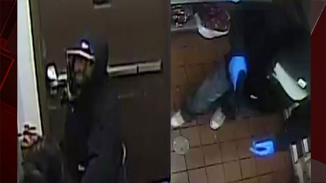 The suspect is seen robbing the business in these surveillance photos (LVMPD / FOX5).
