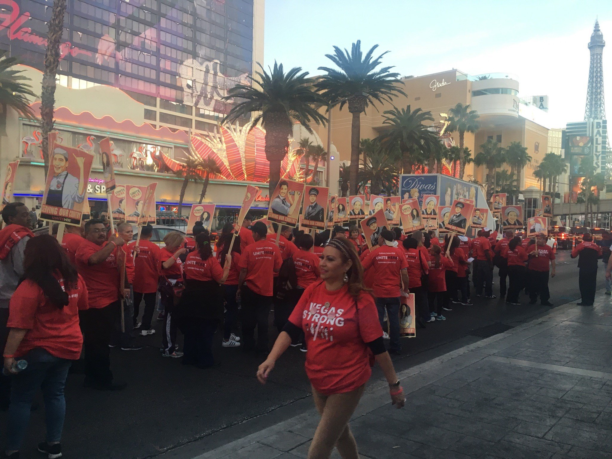 Thousands of people, including many of those who work on the Las Vegas Strip all came together Thursday night for a Vegas Strong march.