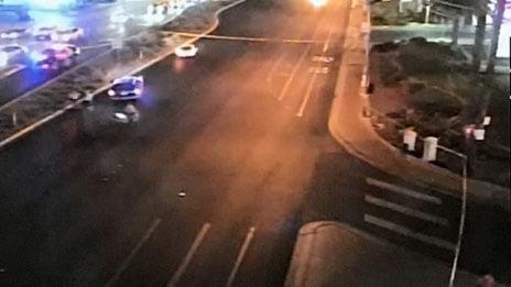 Police were blocking traffic lanes on Boulder Highway due to a fatal crash on Nov. 10, 2017. (LVACS)