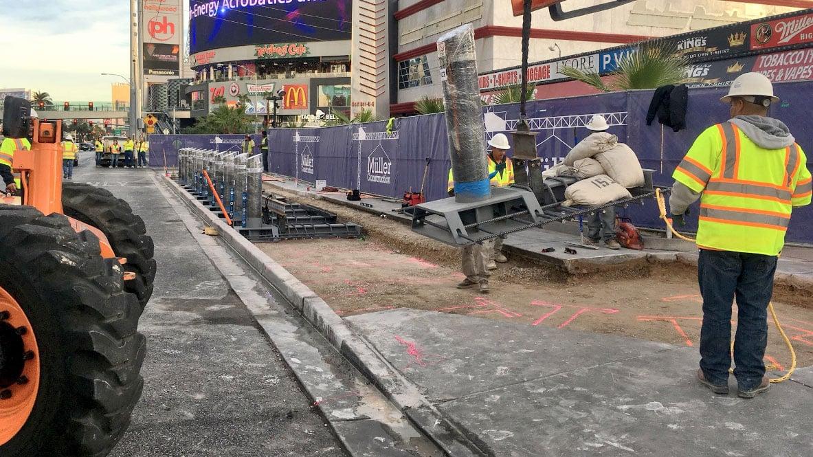 Crews install bollards on the Las Vegas Strip on Nov. 13, 2017. (Alyssa Deitsch/FOX5)