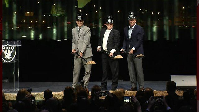 The Raiders officially broke ground at the Russell Road site in Las Vegas for the team's new stadium, slated to open in 2020. (FOX5)