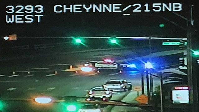 "A LVMPD patrol car diverts traffic near the scene of a ""serious"" crash (LVACS)."