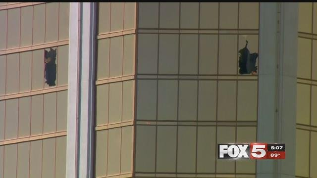 Stephen Paddock unleashed his rampage through two broken windows at the Mandalay Bay hotel (FOX5).