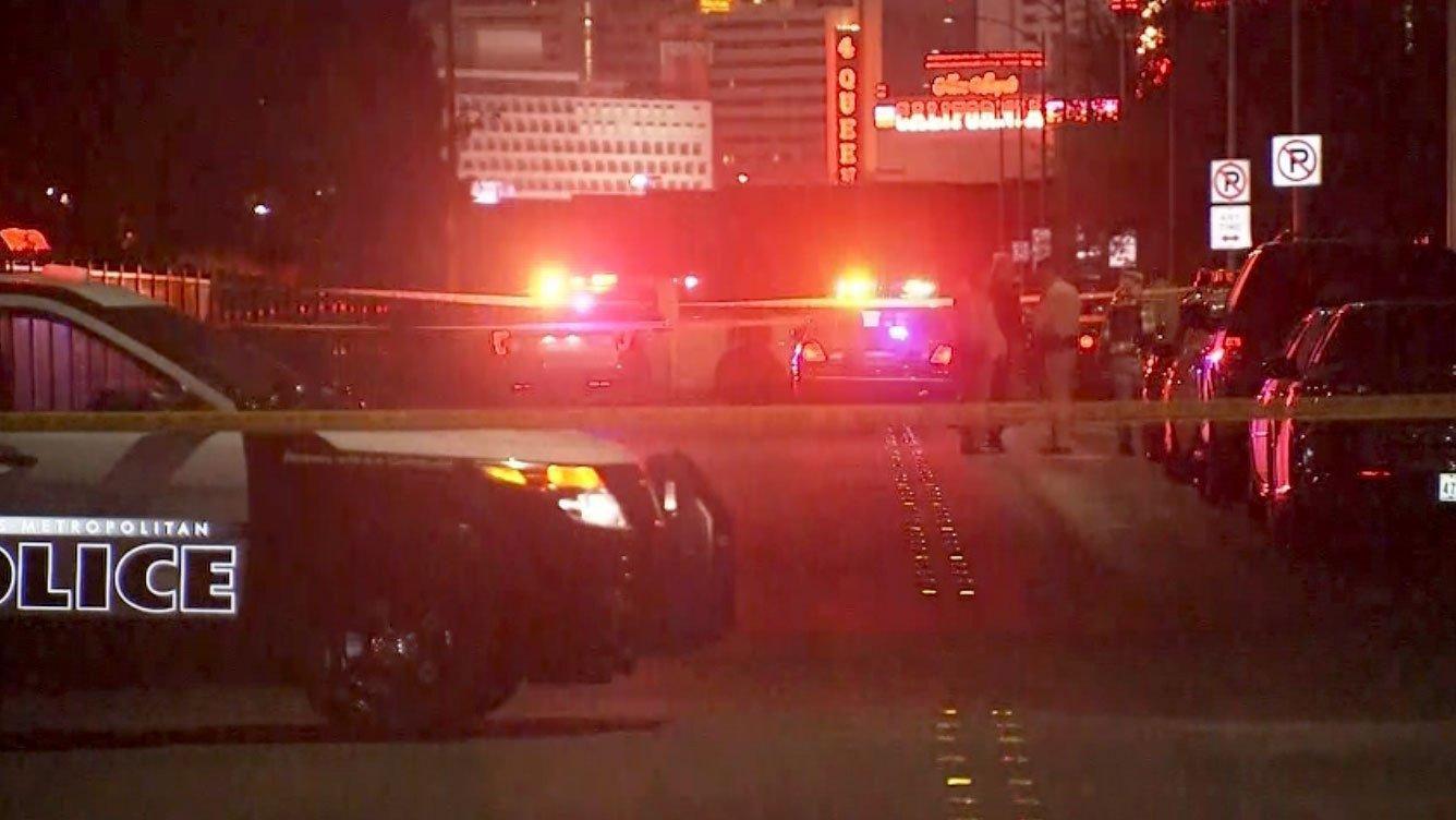 Las Vegas Metro police investigate a homicide in downtown. (Source: Luis Marquez/FOX5)