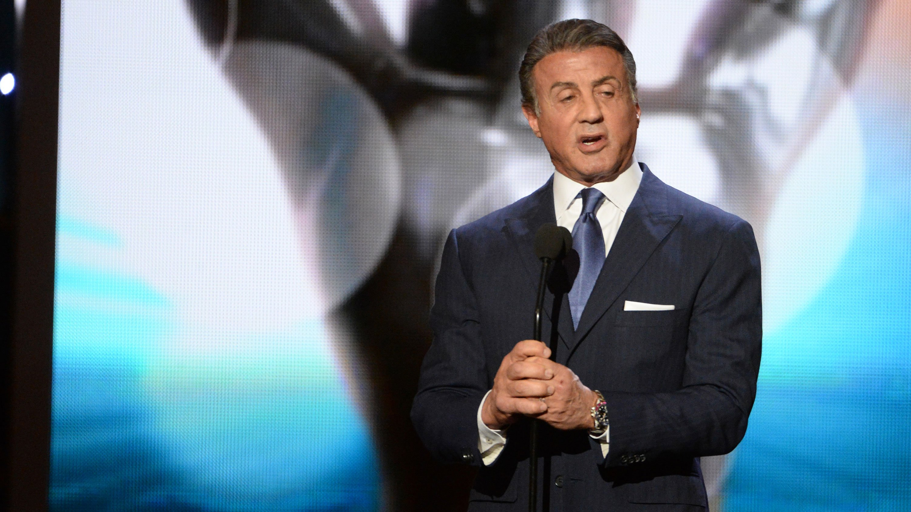 Sylvester Stallone speaks on stage at the 47th NAACP Image Awards at the Pasadena Civic Auditorium on Friday, Feb. 5, 2016, in Pasadena, Calif. (Photo by Phil McCarten/Invision/AP)