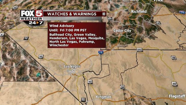 Wind Advisory issued for Southern Nevada on Nov. 17, 2017. (Cassandra Jones/FOX5)