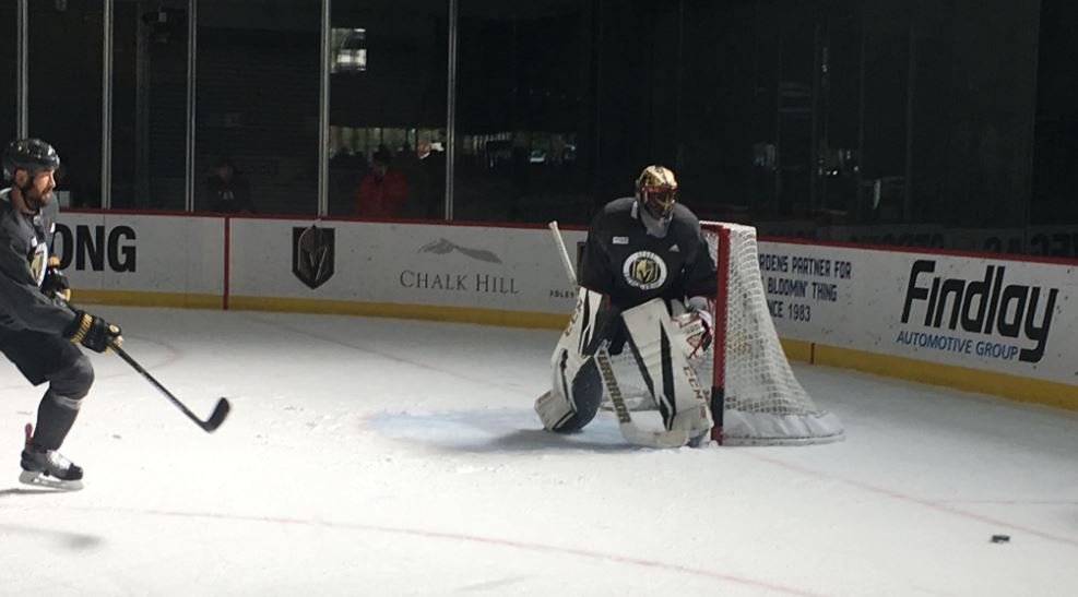 Malcolm Subban in goal at the Vegas Golden Knights practice on Nov. 18, 2017. (FOX5)