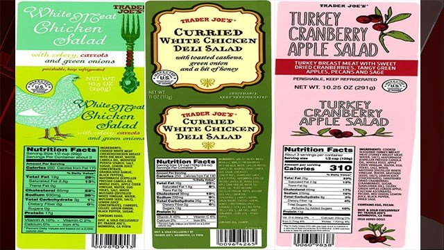 Recalled Trader Joe's salad labels show the affected products (USDA / FOX5).