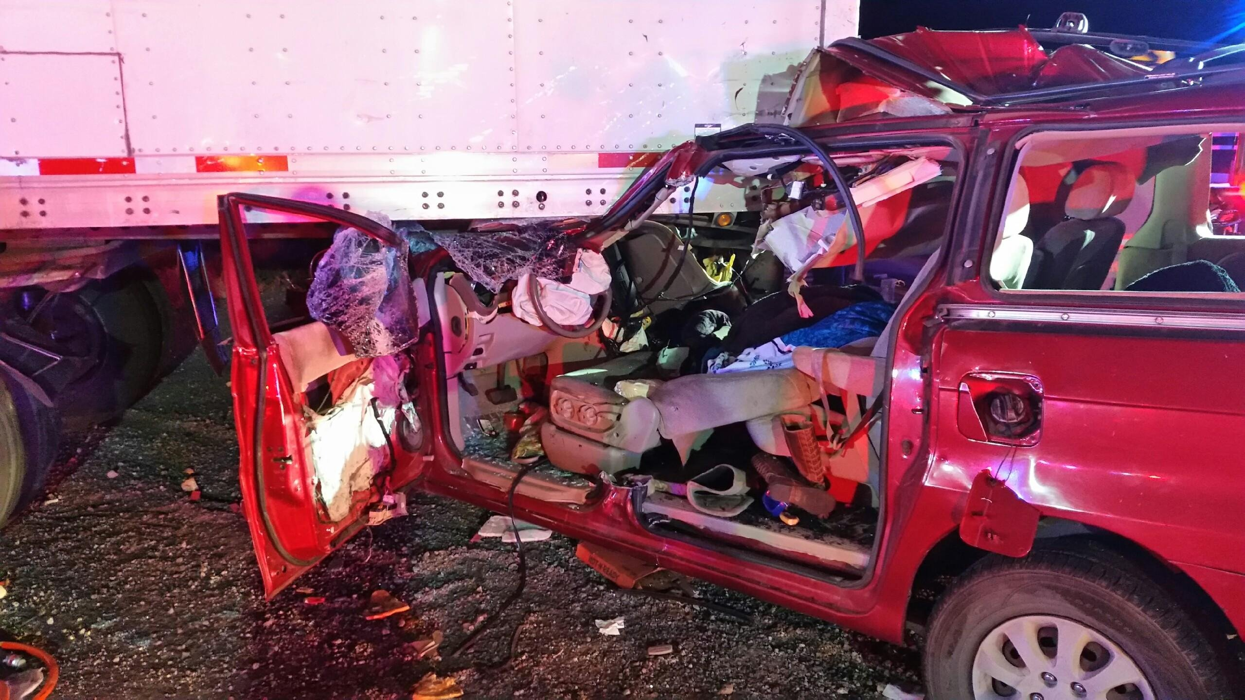 Two children were extracted from this van after a crash involving a semi-truck Nov. 19, 2017 (NHP / FOX5).
