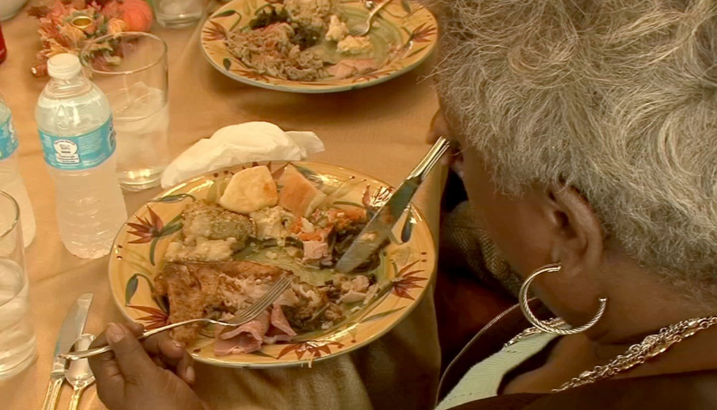 A woman eats her Thanksgiving meal. (File)