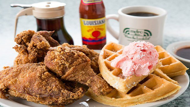 Metro Diner is home to the popular chicken and waffles dish topped with house-made strawberry butter (Metro Diner).