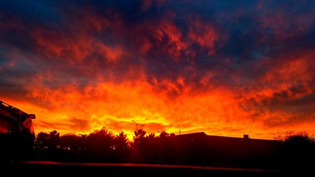 Viewers captured photos of a colorful sunset in the Las Vegas Valley Tuesday.
