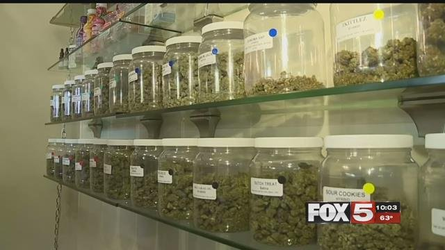 Rows of cannabis flower strains stock the shelves at Thrive Cannabis Marketplace (FOX5).