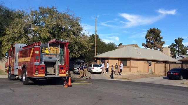 A fire damaged a home in northeast Las Vegas, displacing a family of six and killing a cat, according to Las Vegas Fire and Rescue. (LVFR)