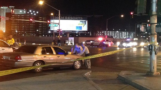 A pedestrian was killed in an hit and run at Sahara and Las Vegas Boulevard. (Roger Bryner / FOX5)