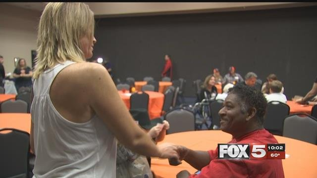 Dozens of 1 October shooting survivors packed into the Henderson Convention Center on Saturday, for an opportunity to celebrate the first major holiday since the shooting and meet others who attended the Route 91 Harvest Festival. (FOX5)