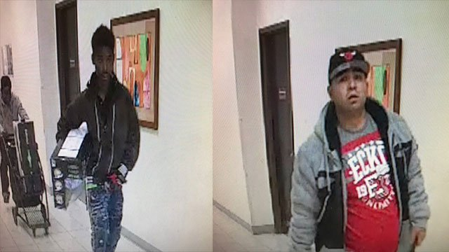 Police released this surveillance still showing two of the four suspects wanted for a department store robbery from Nov. 26, 2017 (LVMPD / FOX5).