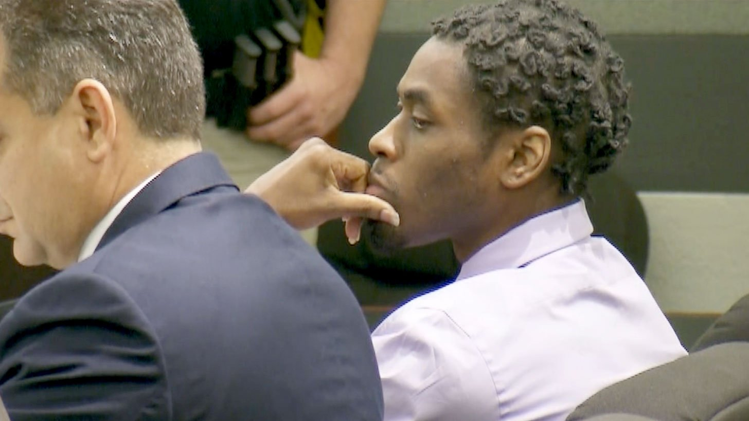 Bryan Clay stares as the verdict in his capital murder trial is read on Nov. 28, 2017. (Gai Phanalasy/FOX5)