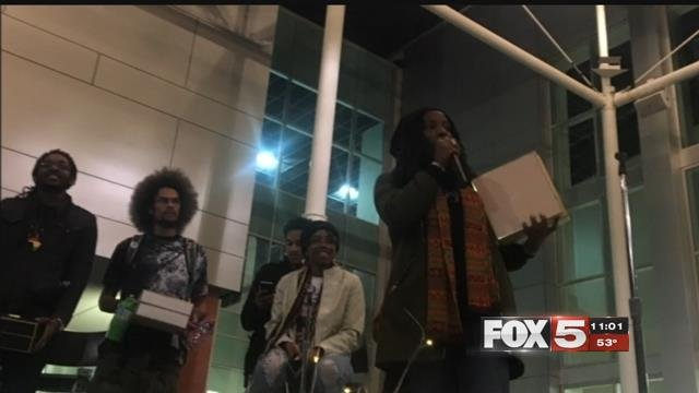 UNLV students participate in a Black Lives Matter event on campus November 28, 2017 (FOX5).