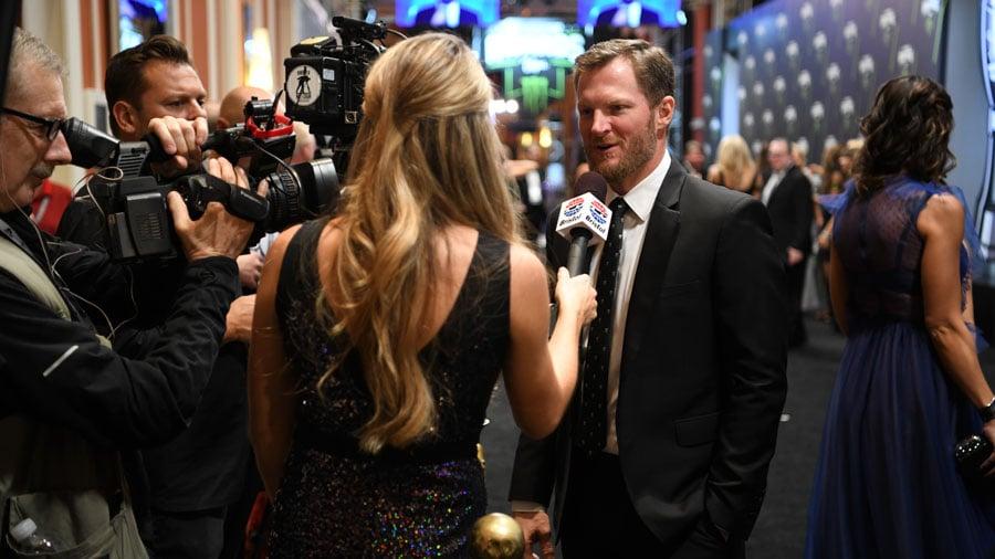 Stars of NASCAR arrived on the red carpet on Nov. 30, 2017. (Las Vegas News Bureau)