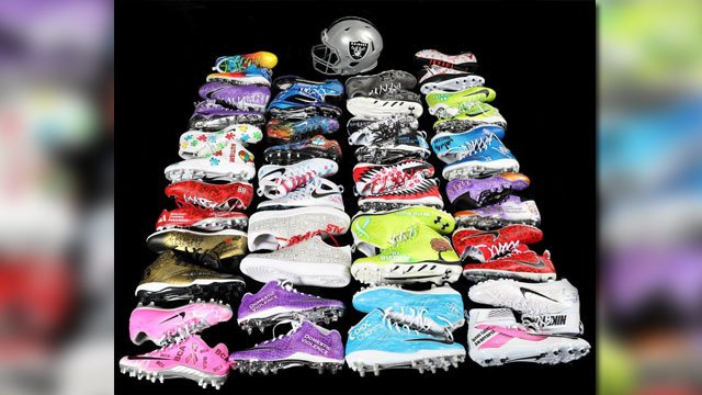 Custom cleats to be worn by the Raiders that reflect their commitment to charitable causes. (Source: Raiders)
