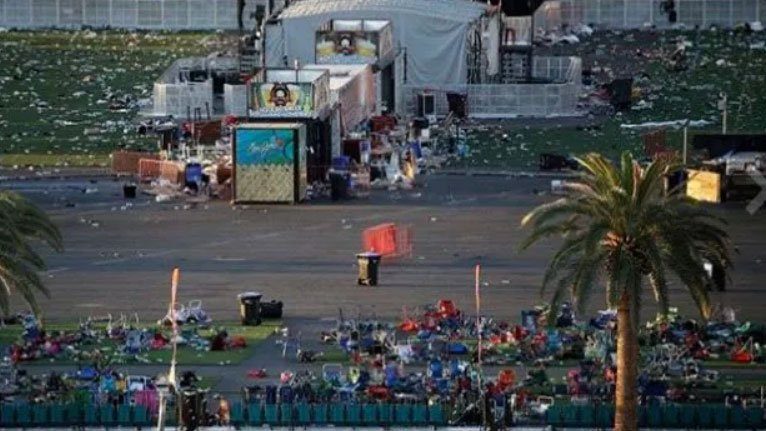 Debris litters a festival grounds across the street from the Mandalay Bay hotel-casino on Oct. 3, 2017. (John Locher/AP)