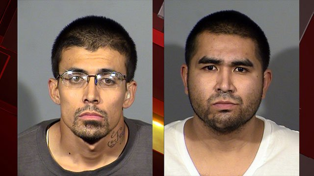 Kenneth Payne, left, and Raul Cruz, right, face multiple charges for their involvement in at least eight retail store robberies (LVMPD / FOX5).