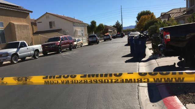 Police at the scene of a domestic-related shooting in an east Las Vegas neighborhood on Dec.7, 2017. (Jason Westerhaus/FOX5)