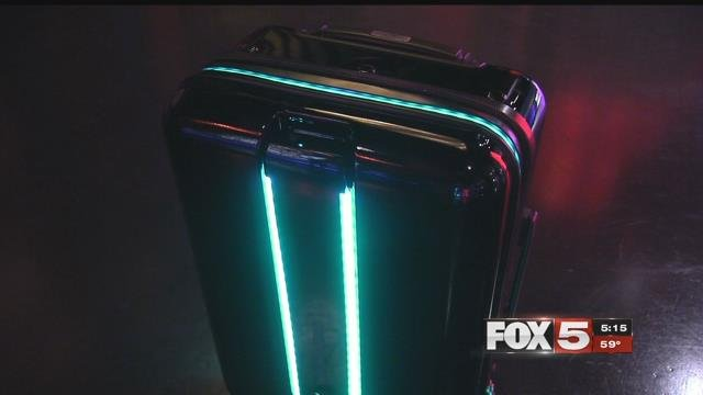 A robotic suitcase made its Las Vegas debut Thursday, on display at Planet Hollywood.  (FOX5)