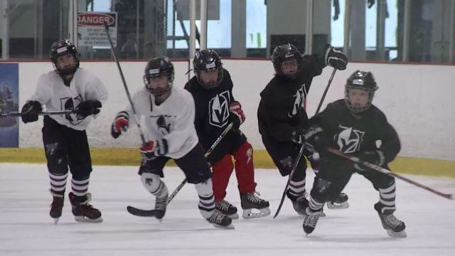 Kids hit the ice during tryouts for the Youth Golden Knights on May 12, 2017. (Robbie Hunt/FOX5)
