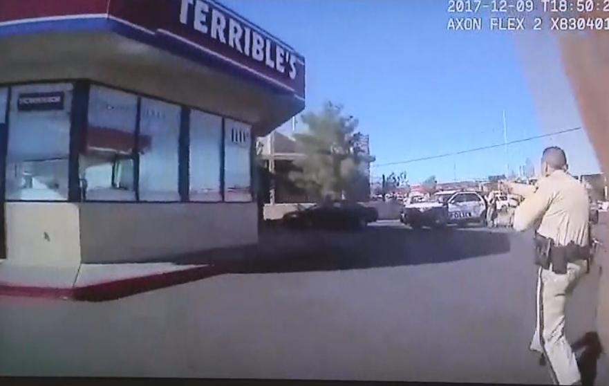 Metro Police bodycam video shows Sgt. Miguel Garcia firing his handgun at bat-wielding suspect on Dec. 9, 2017.