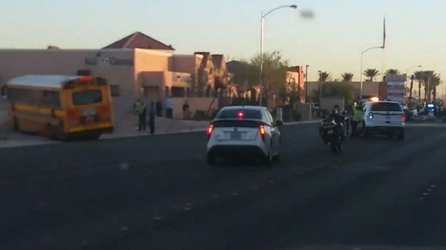 School bus with kids inside crashes in North Las Vegas