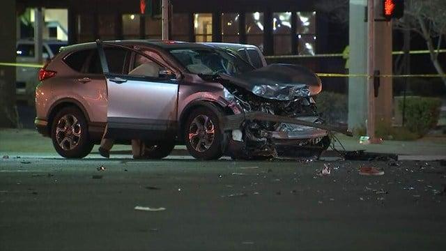 A fatal crash shut down Flamingo Rd. at Eastern Ave. on Dec. 13, 2017. (FOX5)