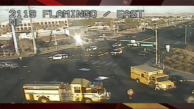 A fatal crash shut down Flamingo Rd. at Eastern Ave. on Dec. 13, 2017. (Photo: LVACS)