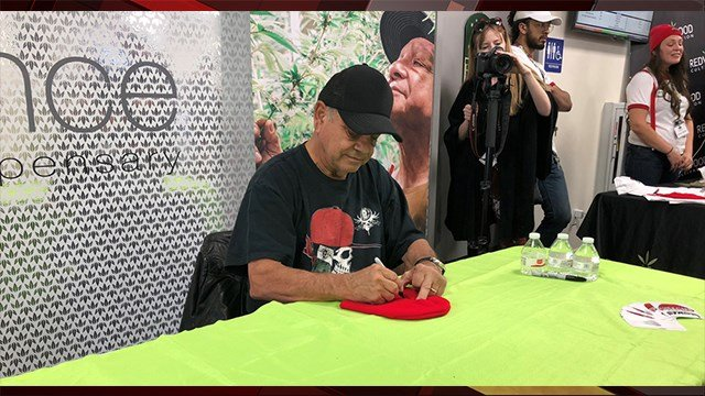 Cheech Marin greets fans at Essence Henderson on Dec. 13. 2017. (Photo: Austin Turner/FOX5)