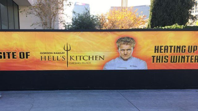 Construction continues on the new Hell's Kitchen restaurant in Las Vegas on Dec. 14, 2017. (Jason Westerhaus/FOX5)