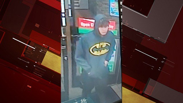 Metro police said they're searching for a man who wore a 'Batman' sweatshirt while he committed an armed robbery last month.
