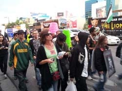 Occupy Las Vegas brought its protest to the Las Vegas Strip Thursday. (Kevin Bolinger FOX5)