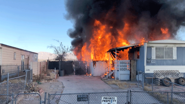 Firefighters responded to a mobile home fire in North Las Vegas on Dec. 15, 2017. (Source: NLVPD)
