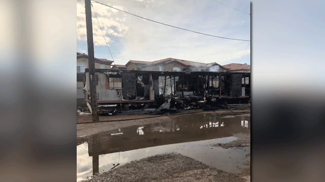 A mobile home was damaged in a fire on Dec. 16, 2017. (Source: CCFD)