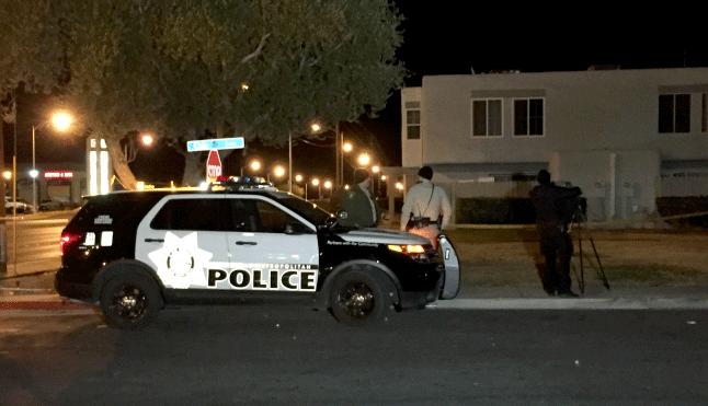 Las Vegas Metro police investigate a homicide on Dec. 18, 2017. (Luis Marquez/FOX5)