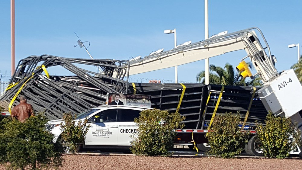 A large truck;s cargo hit and damaged a height bar at McCarran International Airport Dec. 18, 2017. (Photo: Robert Lopes)