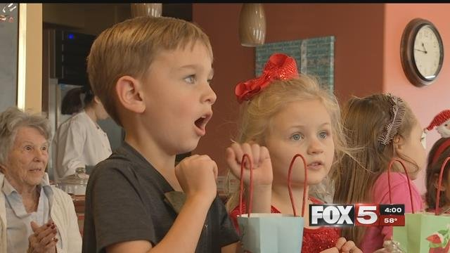 Kids at Faith Lutheranmade some new friends at Las Ventanas at Summerlin. (FOX5)