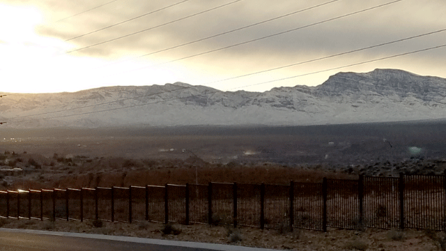 Snow fell on the mountains surrounding Mesquite. (Nick Capra/Report It)