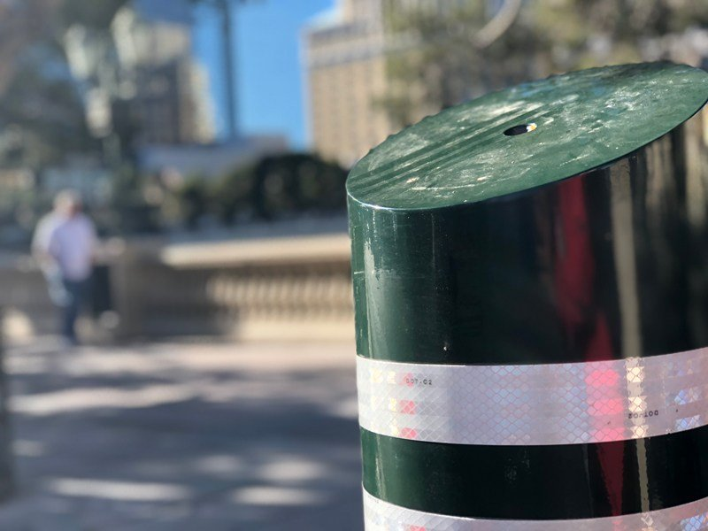 Bollards installed on the Las Vegas Strip for extra security. Dec. 21, 2017 (Photo: Dylan Kendrick/FOX5)