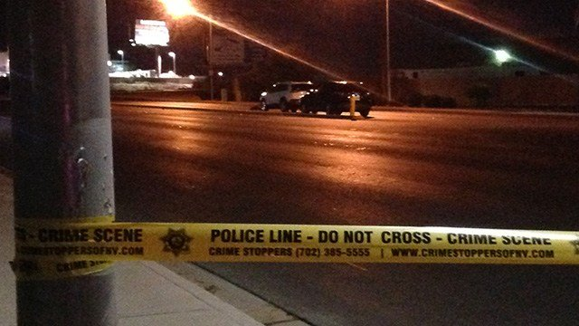 A pedestrian was hit and killed near Nellis Boulevard and Russell Road, according to Metro Police. (Roger Bryner / FOX5)